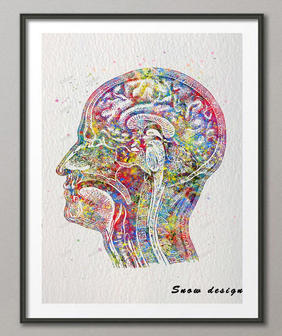 Online Shop Original Watercolor Human Head poster print Pictures ...