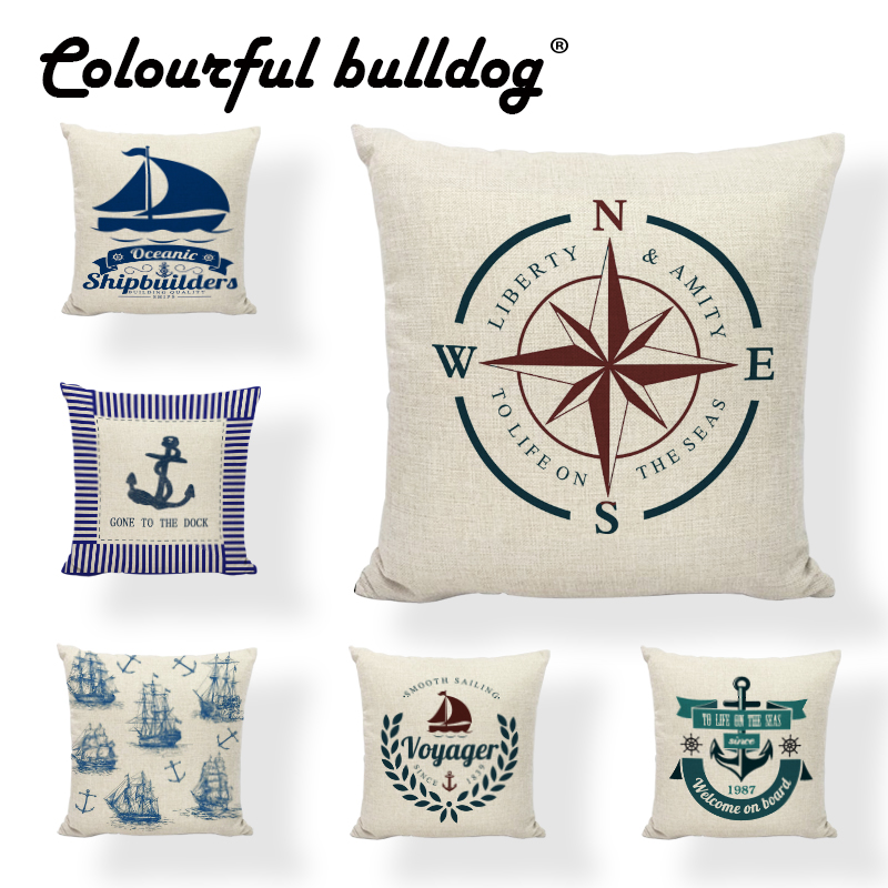 Marine Supplies Image Cushion Cover Starfish Anchor Rudder 17 Inch Throw Pillow Case Sea Tool Home Living Room Car Seat Decorate