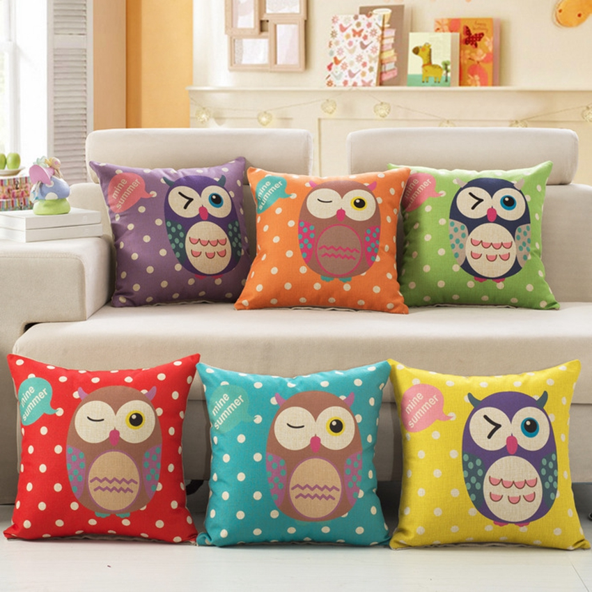 Lovely Baby Owls Pattern Decorative Pillows Cute Cartoon Style Cushion Covers Cotton Linen Square Car Sofa Throw Pillows 45*45CM