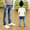 Мальчики ребенок джинсы весна и осень ребенка мужского пола 2016 брюки тонкие брюки тонкий детская одежда способа Высокого качества джинсы