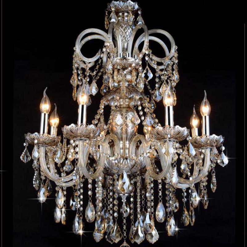 Dining room Antique silver chandelier de cristal lustre vintage cognac Crystal Lamps & Lanterns bar coffee shop art decor Lamps