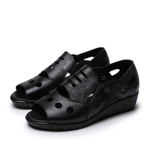 Image 2 - GKTINOO Rome Style Sexy Peep Toe Gladiator Sandals Women Flat Genuine Cow Leather Soft Sole Non Slip Hollow Summer Shoes Woman