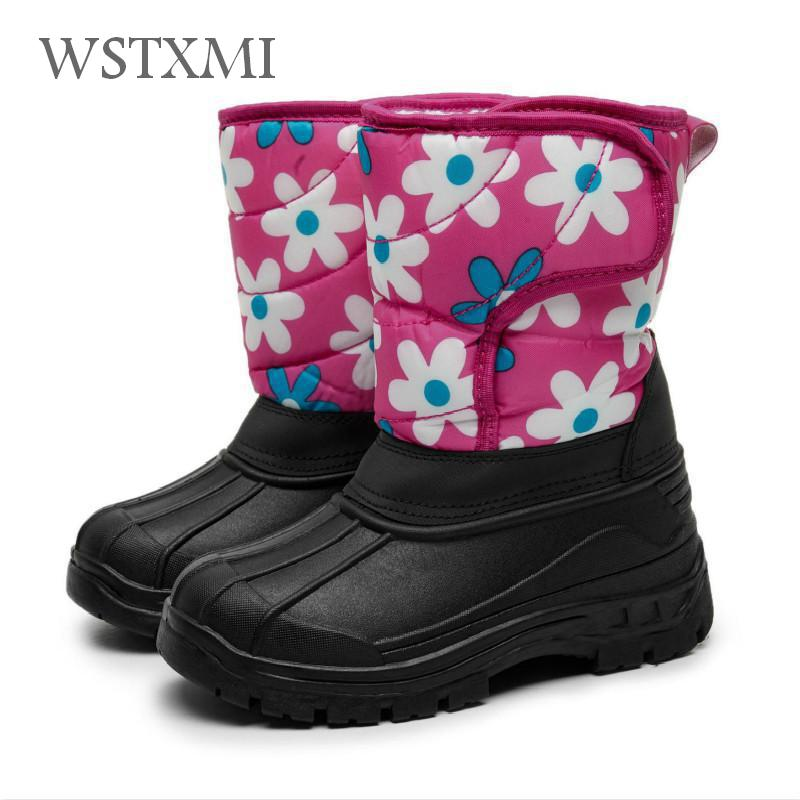 Winter Girl Snow Boots for Mid-calf Children Shoes Warm Plush Thicken Rubber Pu Leather Kids Fur Waterproof Boots Fashion Flower ekoak new 2017 winter boots fashion women boots warm plush mid calf boots ladies platform shoes woman rubber leather snow boots