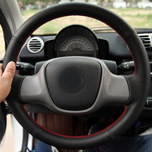 hot deal buy free shipping high quality cowhide top layer leather handmade sewing steering wheel covers protect for mercedes benz smart