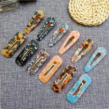 acrylic hairpin alligator hair clips vintage marble pattern bangs tiara wedding accessories for women jewelry barrette