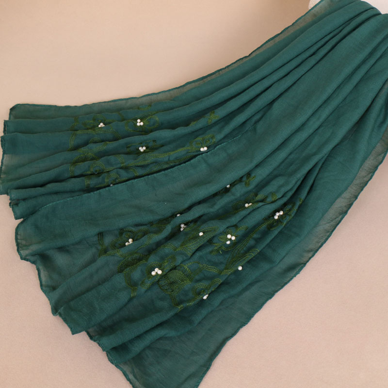 Wind Embroidery Nail Pearl Muslim Nation Scarf Heat Sell Embroidered Hijab Long Cloth Lace Head Scarf Wholesale