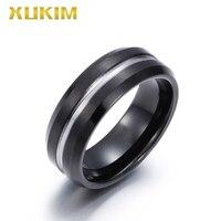 TSR208 Xukim Jewelry stainless steel ring black Tungsten men ring new hot wedding ring full finger woman ring