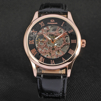 Top Brand Luxury Forsining Roman Black Gold Design Men Skeleton Watch Mechanical Wristwatch Male Gift Clock