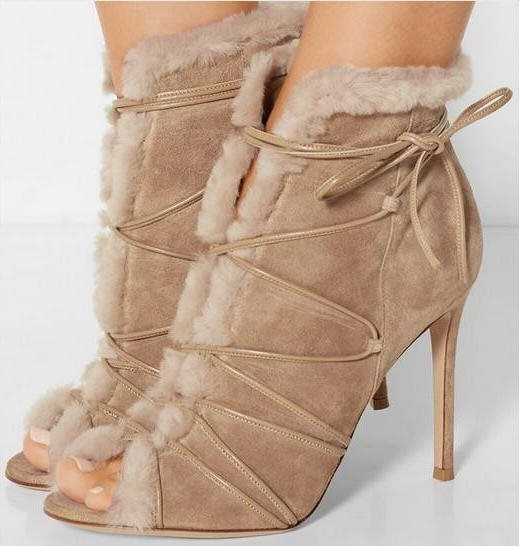 Hot Selling Autumn Women Suede Leather Ankle Boots Fur Peep Toe Ladies Shoes Lace Up High Heel Boots Stiletto Heel Short Boots women sexy high heel ankle boots with lock lace up patent leather boots autumn short boots wedding shoes women botas size 36 46