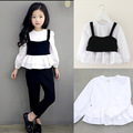 3-9Y Fashion girls clothing sets 2 pcs white blouse girl child + Trend style vest black Fashion girls clothes