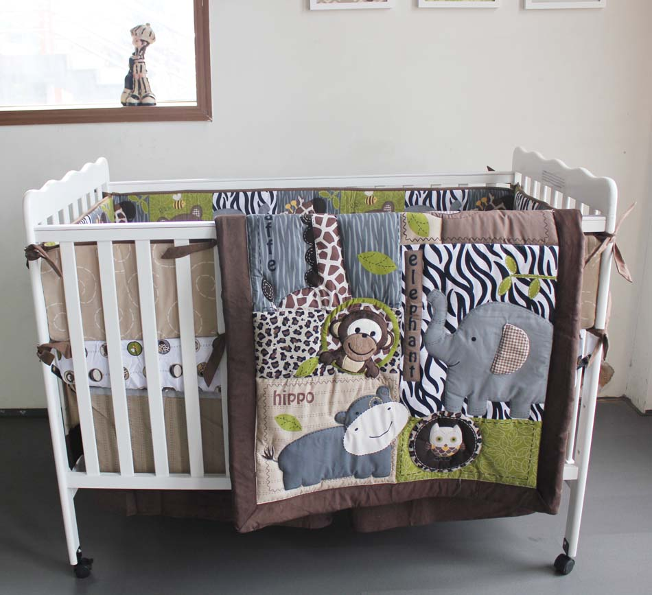 Baby crib zebra print bedding - 7 Pcs Lion Baby Bedding Set Baby Cot Crib Bedding Set Cartoon Animal World Owl Baby Crib Set Quilt Bumper Sheet Skirt