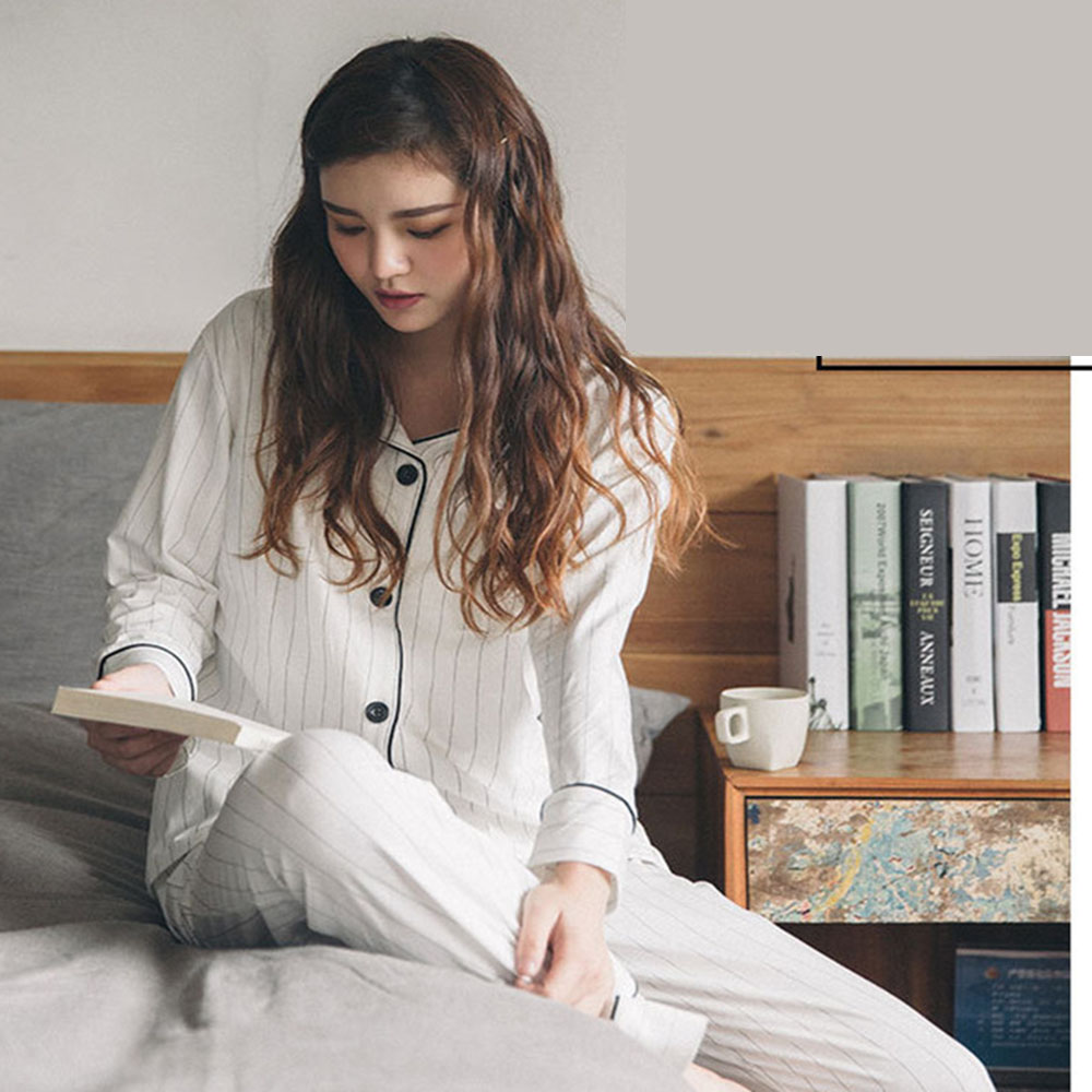 Women   Pajamas     Set   White Striped Casual Cotton Long Sleeve Sleepwear Suit 2 Piece Sexy Spring Homewear Lounge Pant Suit for Women