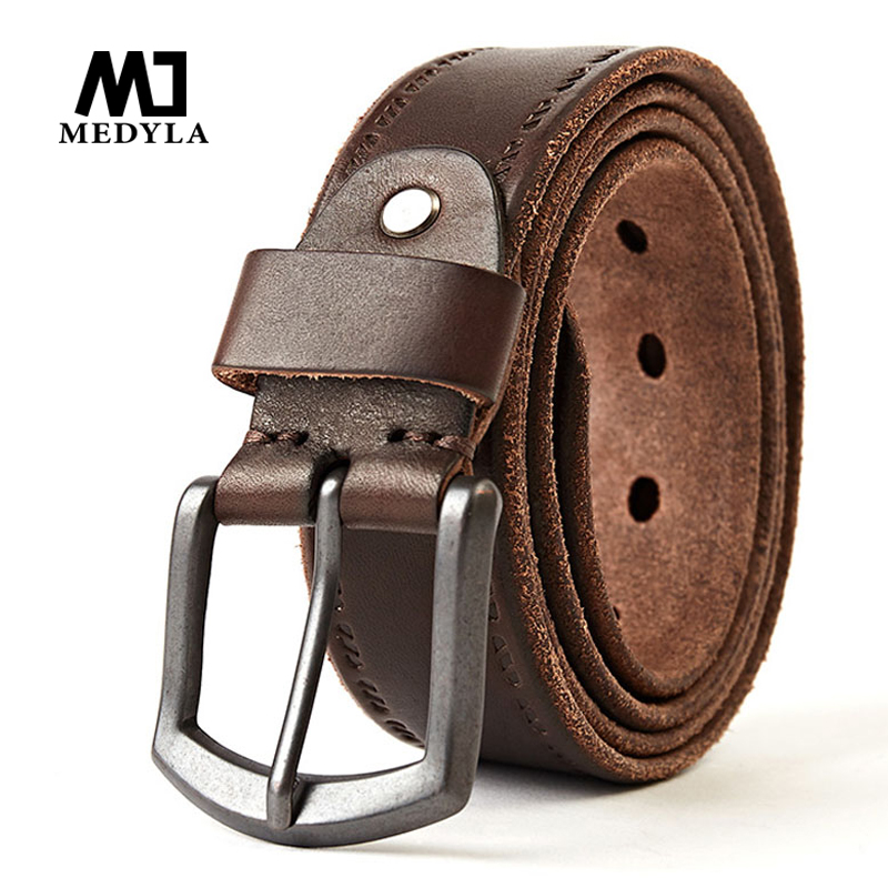 MEDYLA Cowhide Grain Leather Belts For Men Fashionable And Casual Soft And High-Quality Leather Brown Belt Cinturon 624