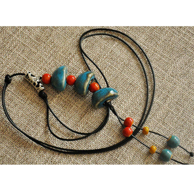 Ethnic Style Ceramic Beads Strand Necklace Colorful Bead Long Tassel Pendant Necklaces Sweater Chain for women Vintage Jewelry