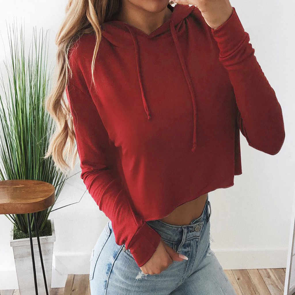 Autumn Thin Women's Hoodie Blouse Solid Long Sleeve Casual Hooded Sweatshirt 2019 Fashion Female Short Sweatshirt Hoodies