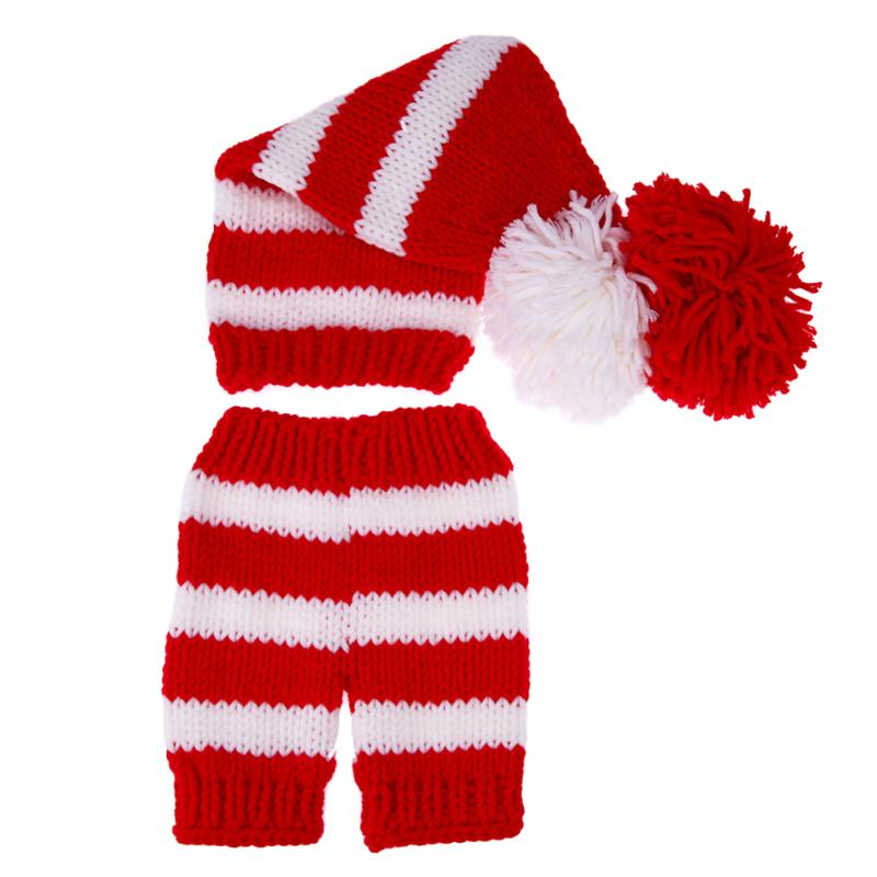 Newborn Baby Cute Crochet Knit Costume Strip Baby Hat Halloween Pumpkin Design Costume Comfortable Set For Photo Props