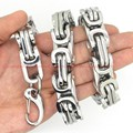"Customized Size 8-40"" Huge Heavy 316L Stainless Steel Silver Byzantine Chain Mens Necklace&Bracelet 7/8/10/12/15MM Top Design"