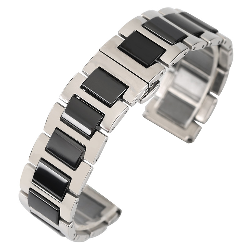 18mm 20mm White/Black Ceramics Links Stainless Steel Watch Strap Replacement for Wrist Watch High Quality Hidden Clasp