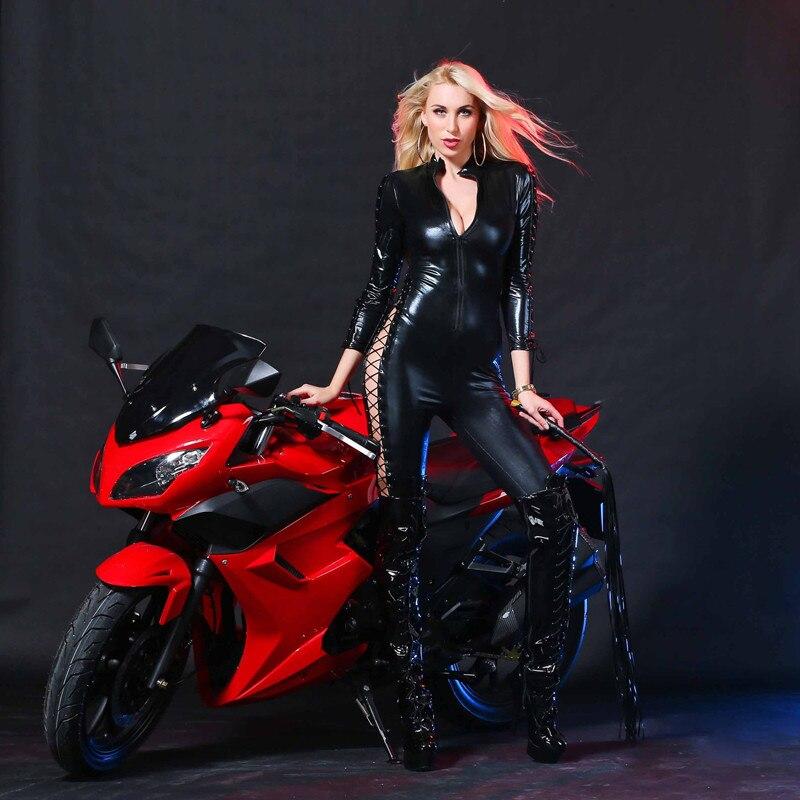 2018 Women Latex Catsuit Wet Look Jumpsuit PVC Latex Erotic Faux Leather Porn Bodysuit Fetish Gothic Teddy Costume Game Uniforms