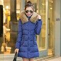 2016 Nova jaqueta de Inverno da Mulher Casacos Slim Com Capuz Down Jacket gola de pele feminino espessamento do revestimento do revestimento Quente