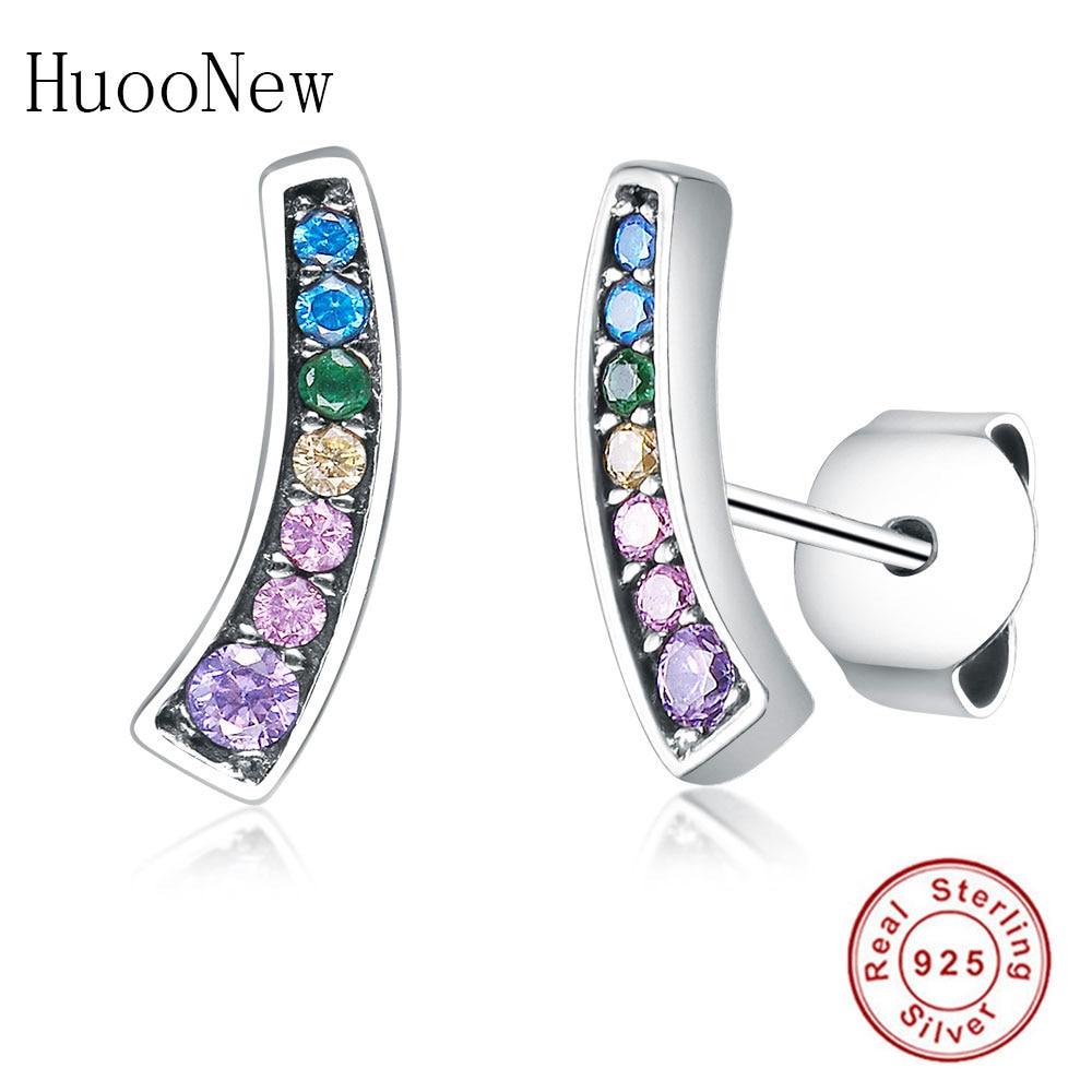 Color CZ Rainbow Arcs of Love Stud Earrings 2019 For Women 925 Sterling Silver Jewelry Luxury Fashion Earring Love Gift Berloque