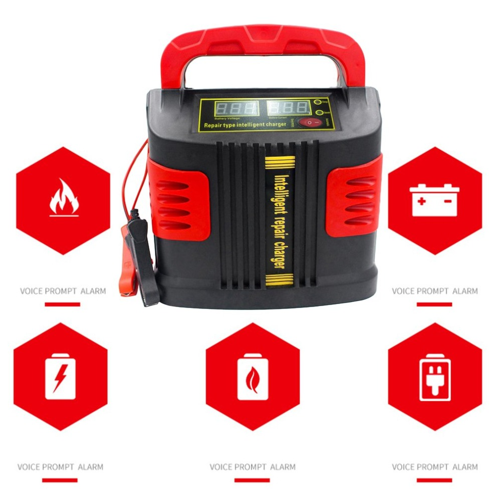 Viecar 350W 14A Auto Adjust LCD Battery Charger Car Jump Starter Booster Portable Intelligent Charger Auto Vehicle Charger J25C