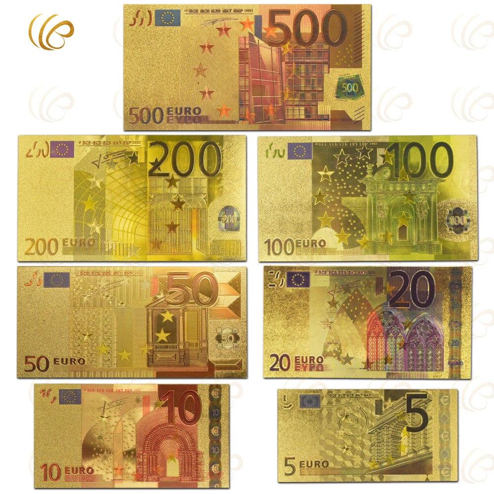 7pcs lot color euro banknote sets 5 10 20 50 100 200 500 eur gold banknotes in 24k gold fake