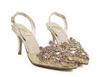 Size 4~9 Crystal Lace Wedding Shoes Top Quality Women Shoes Women Pumps 2016