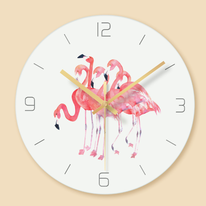 Wall clock Minimalist quartz watch Flamingo Glass Wall Clocks Home Decoration Living Room Silent 12 inch in Wall Clocks from Home Garden