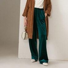 2020 סתיו חדש נשים אופנה ארוך אלסטי מותניים מכנסיים קטיפה, בתוספת גודל M  5XL 6XL קטיפה מכנסיים ישר Loose קטיפה מכנסיים