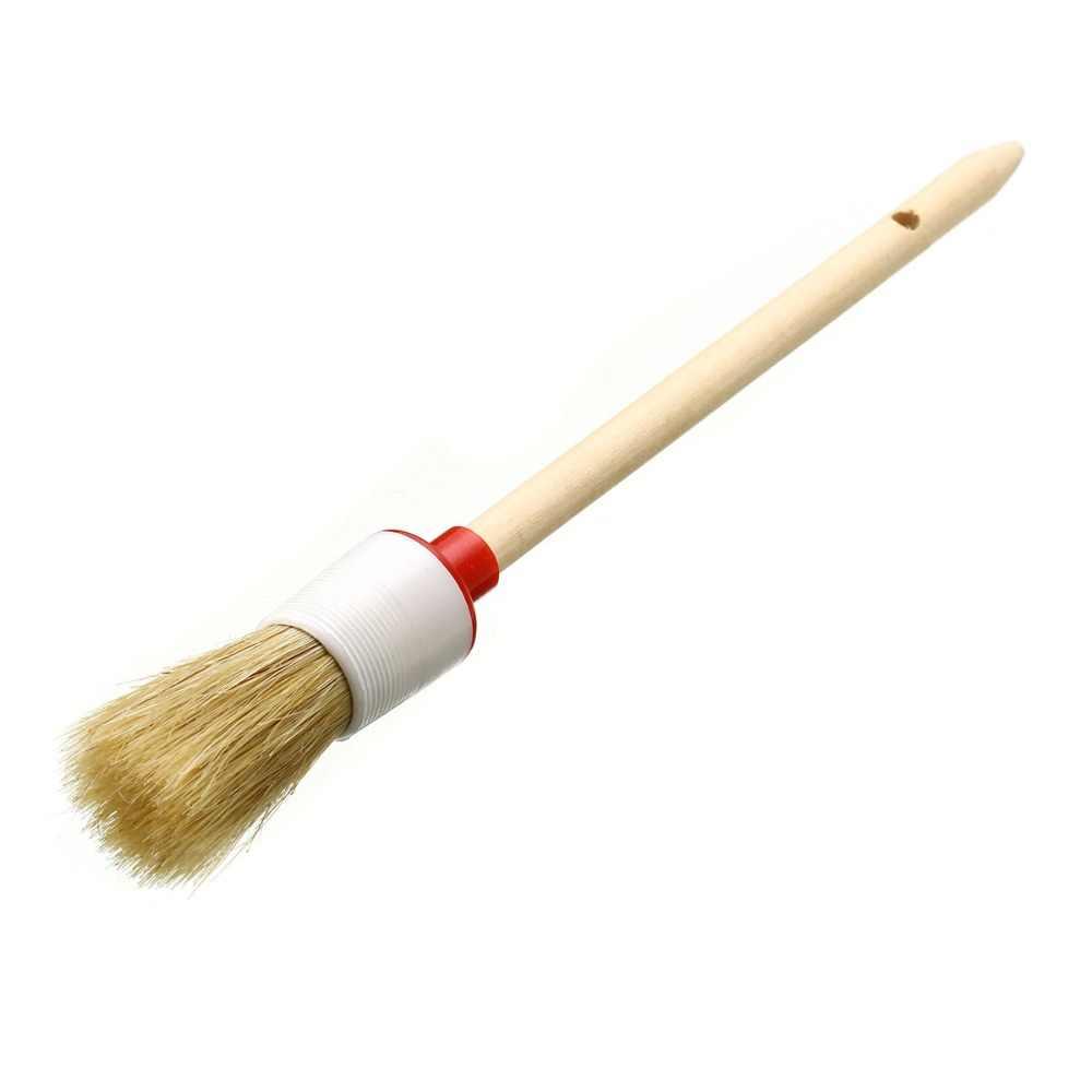 Mayitr 1 PC mango de madera cepillo de cera artista cerdas redondas tiza pintura al óleo cepillo de cera para la limpieza del coche del hogar suministros