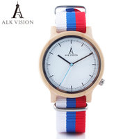 Canada ALK Pride Rainbow Top Wood Watches Luxury Brand Women Mens Wooden Watch with Canvas LGBT Strap Fashion Casual Wristwatch