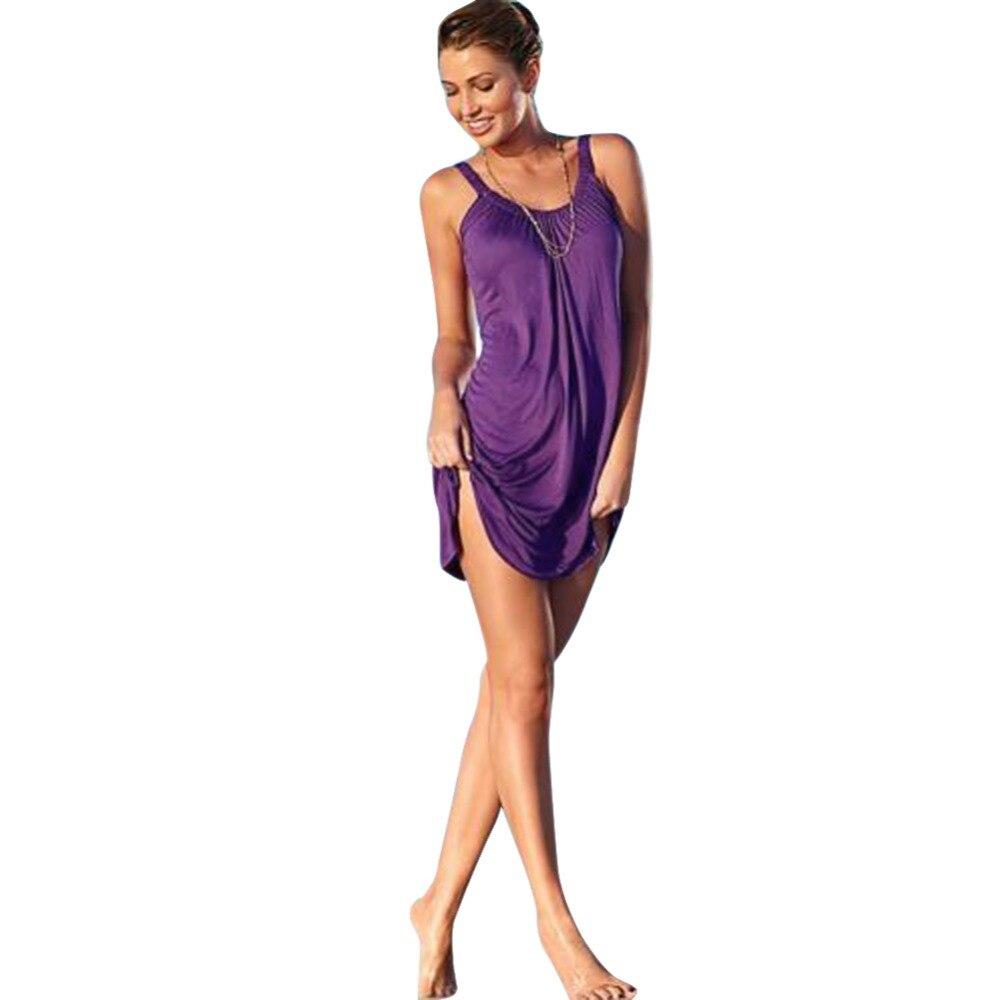 Women Sexy Summer Beachwear Sleeveless Evening Party Beach Dress Short Mini Dress Swim Cover up Beachwear Swimwear Dress 4