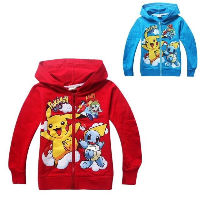 Pokemon Pikachu Meninos Camisola Hoodies Manga Longa Jaqueta Com Zíper Crianças Casaco Moletom Roupas Para 10 Anos Monya