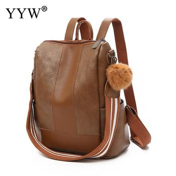 Pu Leather Women Backpack With A Fur Ball Square Shape Travel Female Shoulder Bags Black Hand School Bag - discount item  15% OFF Backpacks
