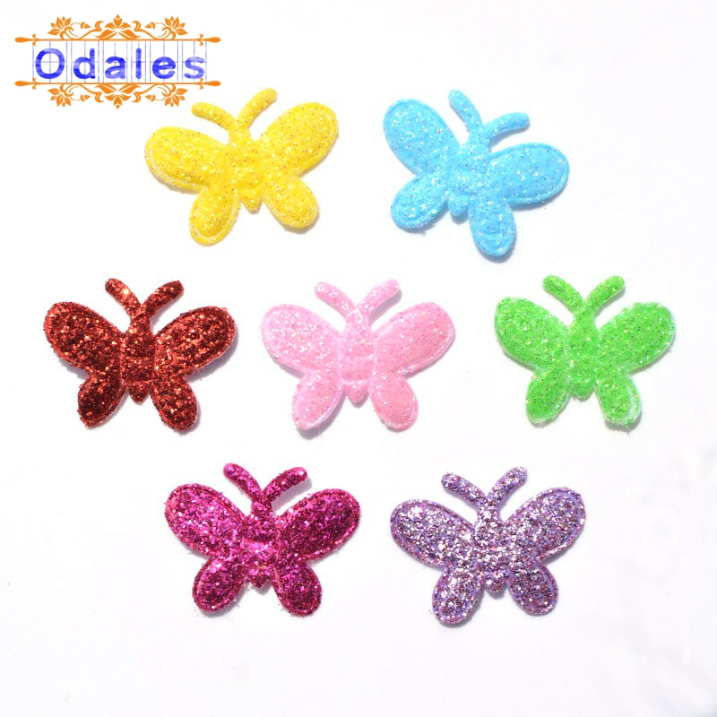 300Pcs Colorful Fabric Butterflies Appliques Butterfly Flat Scrapbooking Hair Accessory Party Decor Sewing Crafts DIY Wedding