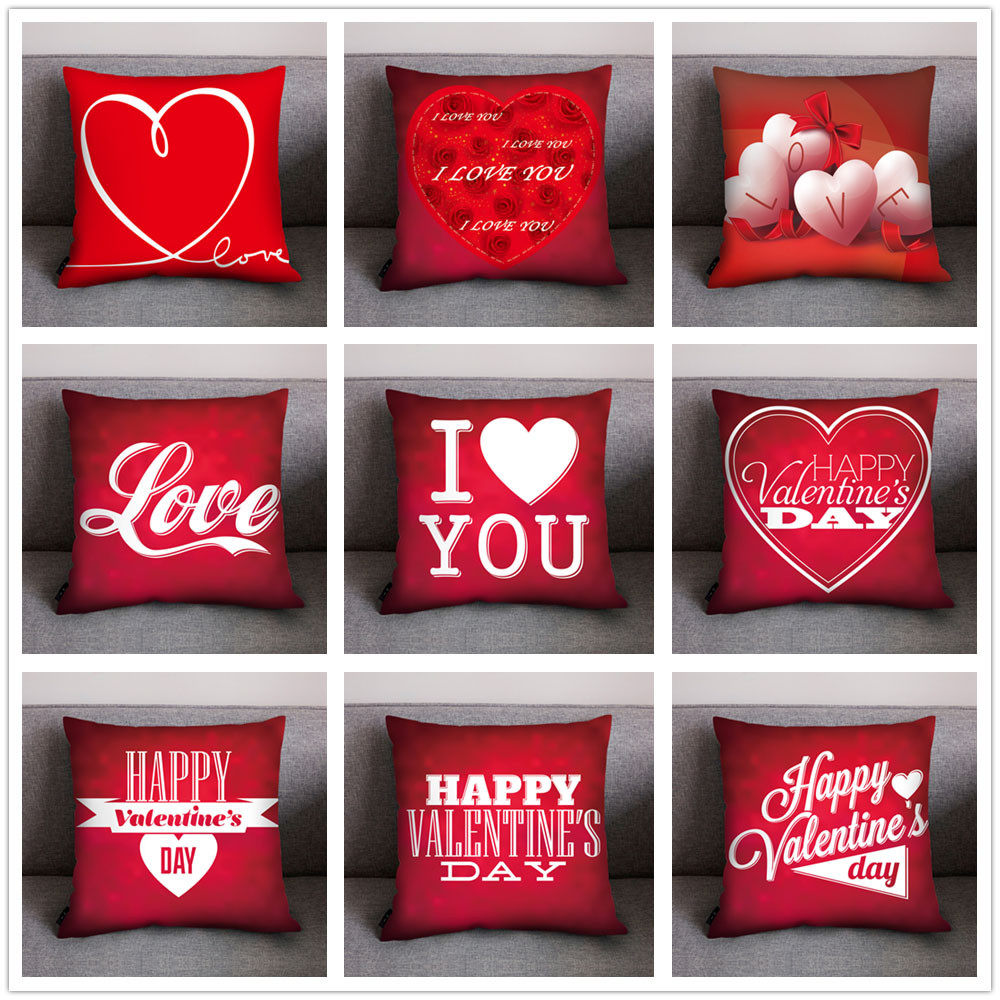 pillow case red valentine day decoration cushion cover polyester heart i love you print pillow cover for couple home decor 45 45