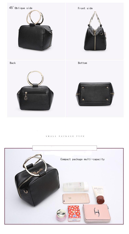HONGU Luxury Cow Leather Handbags Women Bags Brands Ring Evening Purses Lady Mini Crossbody Shoulder Bags Female Messenger Totes     H5140080992 (10)