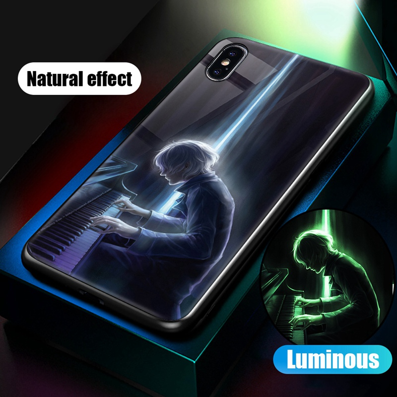 Luminous Case For iPhone X XS MAX Case For iPhone 7 6 s 8 Plus X 10 Luxury PC+Tempered Glass Pattern Silicone Edge Cover (31)