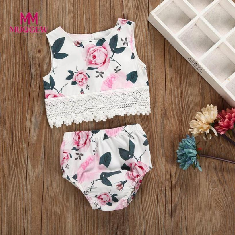 MUQGEW 2PC Flower Kids Baby Girls Floral Print Tops Sleeveless O-Neck Clothing+newest style hot sale Short Pants Set Outfit
