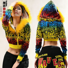 New fashion 2014 hip hop dance multicolour letter print female casual loose doodle hoodies street style short outerwear Jackets