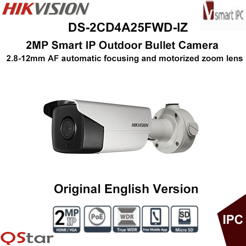 Hikvision Original English Version DS-2CD4A25FWD-IZ 2MP Smart IP Camera Support 128G on-board storage,POE DHL Free Shipping free shipping english version ds 2cd4132fwd iz 3mp 120db wdr smart ip indoor dome camera support 128g poe