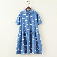 2017 Summer Sweet Clouds Print Peter Pan Collar Shor Sleeve Denim Dress Kawaii Mori Girl