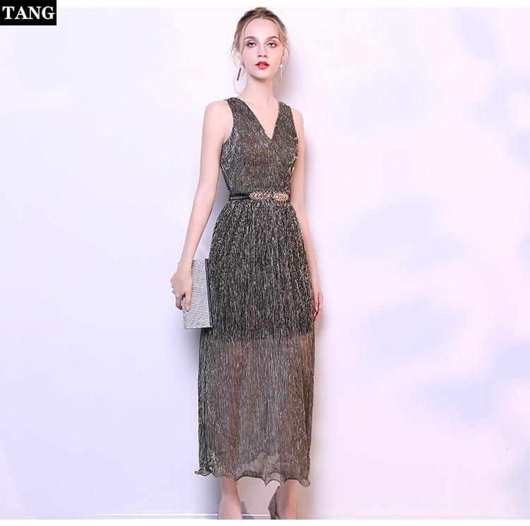 Tang nouvelle mode femmes dentelle robe formelle de mariage demoiselle d'honneur longue fête bal robe de bal robe sans manches fête en mousseline de soie robe