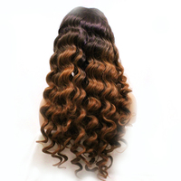 Dlme Ombre Brown Deep Wave Hair Synthetic Lace Front Wig Heat Resistant Fiber With Natural Hairline