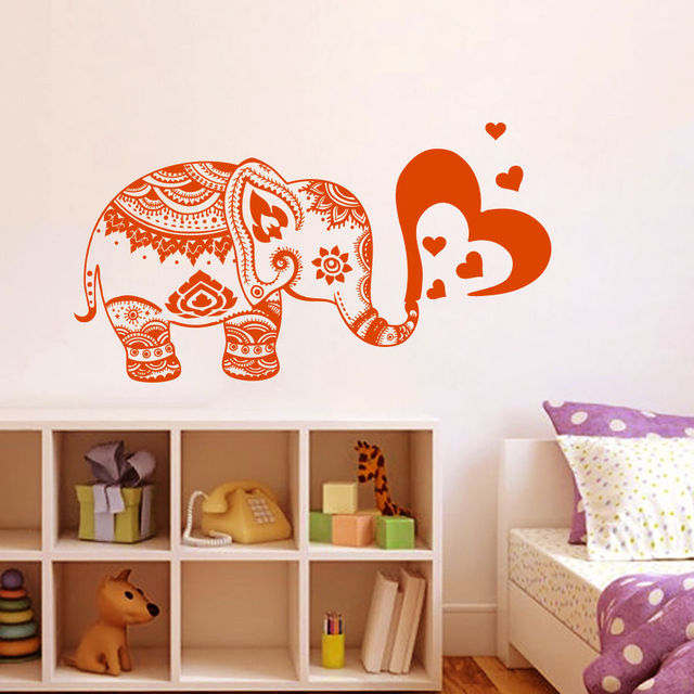 Vinyl Wall Decals Elephant Heart Indian Baby Room Nursery Home Boho ...