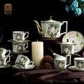 Bone china 15 pz set tazza di caffè espresso con pentola lo zucchero e pentola di latte/bone china insieme della tazza di caffè beteaful regalo per il vostro natale
