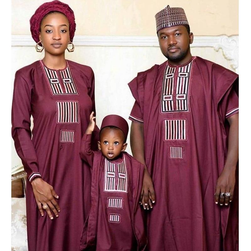 H&D african couple dress family parent kid set tops pant 3 pieces father mother boy dashiki women men bazin riche suits clothes cardigan