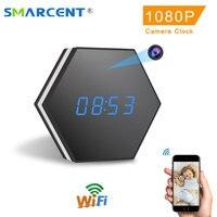 Mini cámara del reloj de HD 1080 p WiFi Smart reloj de espejo con visión nocturna de dos vías de Audio de detección de movimiento colorido luz LED videocámara