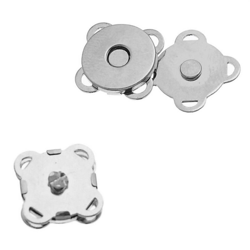 Magnetic Hematite Magnetic Clasps Flower Silver Tone 11mm( 3/8